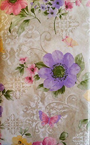 Butterflies Among Pink, Yellow and Purple Violets Vinyl Flannel Back Tablecloth (52