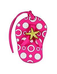 Beach Themed Hot Pink Flip Flop Luggage Tag w/ Starfish