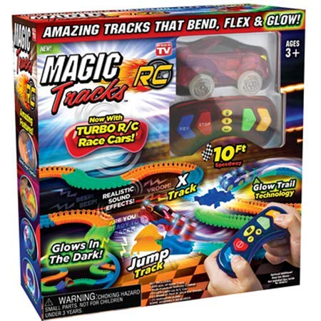 Bright Beautifully Colored Super Fun Fast Amazing 10FT Magic Tracks RC Set with RED CAR As Seen on TV Glows As You Bend, Flex, Redesign As You Want!