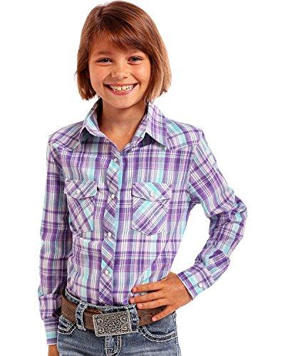 Panhandle Girls' Purple Plaid Western Shirt Purple (Panhandle Western Shirts)