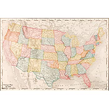 Amazon.com: United States Map Retro Vintage USA Map can be used for ...