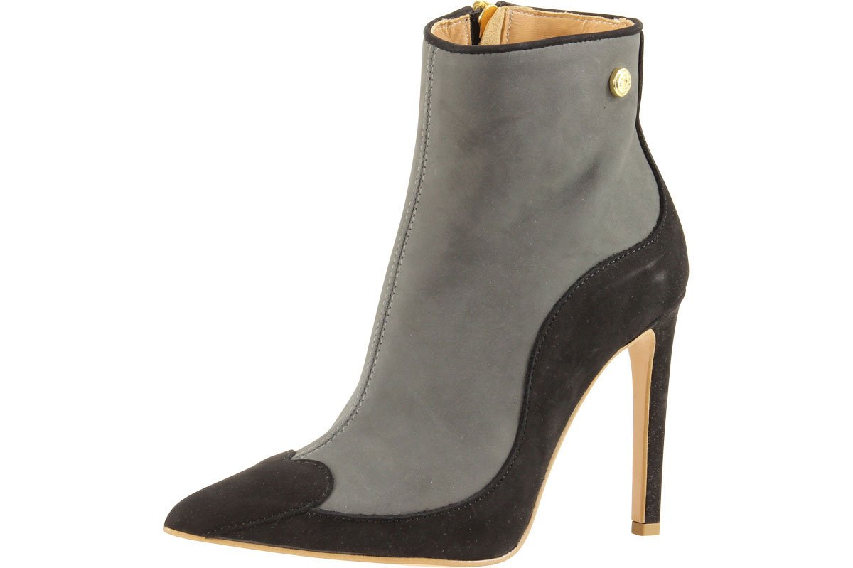 Love Moschino Women's Heart Toe Grey/Black Ankle Boots Shoes Sz: 7