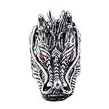 greatfun Hombre Punk Rock Estilo Cool Dragon Head Anillos Rojo Piedra Anillos Diseño Único, Plateado