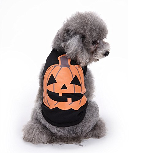 Wall of Dragon Pumpkin Dog Vest Pet Puppy Clothes Cotton Shirts Outfit Halloween Party Costumes Dog Clothing for Small Dogs ()