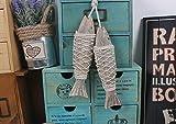 IDEAS HOME - Style Mediterranean Marine Decor Wooden Hanging Fish Handicrafts On Wall Decor 2pcs/set Size S 20x5CM.
