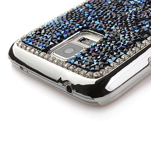 Sunroyal® Funda Carcasa Cáscara para Samsung Galaxy S5 I9600 GT-I9600 / S5 Neo/Samsung Galaxy S5 (SM-G900F) - S5 Neo (SM-G903F) Case Cover Caso Premium Bling Accesorios Teléfono PC Tapa Dura Lujo Hard Azul01