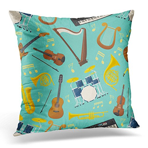 Sdamas Pillow case Made of Different Music Instruments for Sound Audio Trumpet and Drum Kit Trap Violin and Lyre Saxophone Throw Pillow Case Home Decor Square Pillowcase Decorative 18x18 Inches
