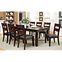 Furniture of America Dallas 9-Piece Transitional Dining Set, Dark Cherry