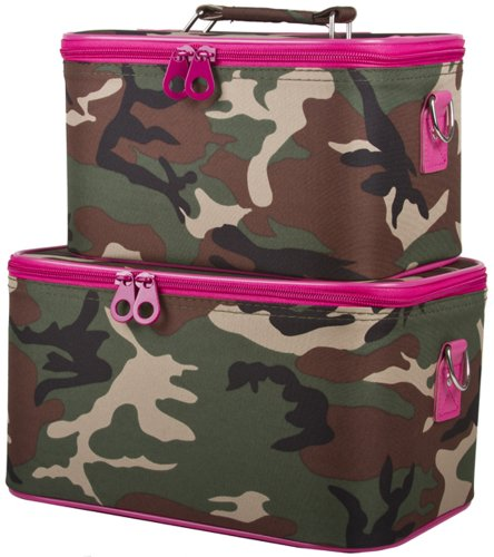 Two Moda Light - Ever Moda Pink and Green Camouflage Cosmetic Makeup Train Case 2-piece
