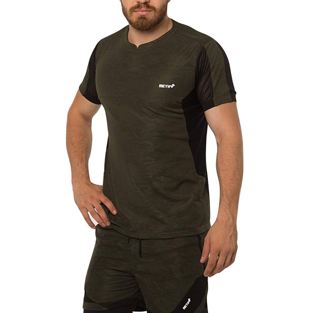 Serzul Summer Men Muscle Slim Fitted Sport T-Shirt Cotton Breathable Short Sleeves Tee Solid Zip Baggy Tops