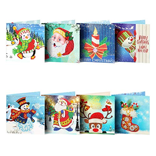 Christmas Cards 5D DIY Diamond Painting Round Drill Greeting Cards [8 Pack], Creative Christmas Card Rhinestone Embroidery Arts Craft, Merry Christmas Handmade Cards for Family, Friends, Lover
