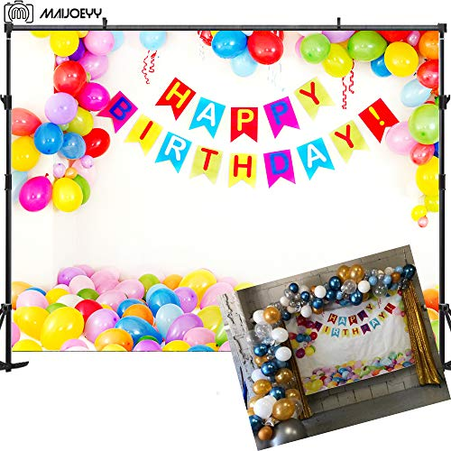 Maijoeyy 7x5ft Birthday Party Photography Backdrop for Photography Bunting Balloon Backdrop for Picture Decorations Photography Props Children Newborn kid Background for Studio Remove Wrinkle Backdrop ()