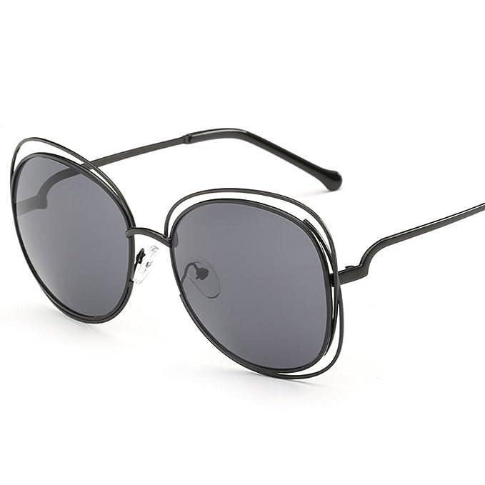 Kennifer Gafas de sol de Metal Hueco Grande Marco Doble ...