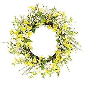 Puleo International 24 in. Artificial Daisy and Dogwood Wreath, Green 2