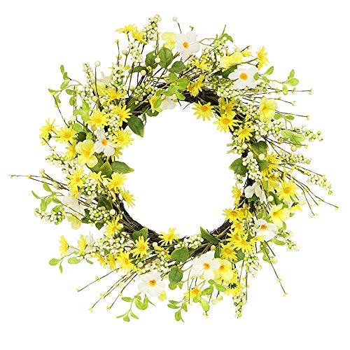 Puleo International 24 inch Artificial Daisy and Dogwood Floral Spring Wreath ()