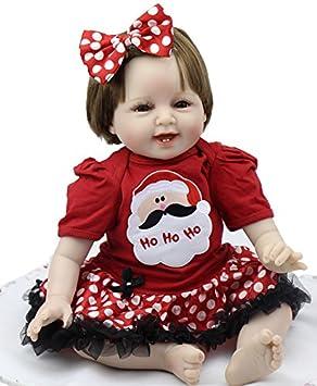 Suave sonriente 22 pulgadas bebé Reborn chica vistiendo lindo vestido de silicona hechos a mano bebés