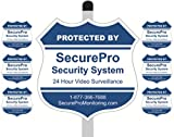 """1 """"Protected By SecurePro Security System"""" Yard Sign (9"""" x 9"""") Mounted on a 36"""" Long Stake Post with 6 Security Alarm System Stickers Included - Blue & White"""