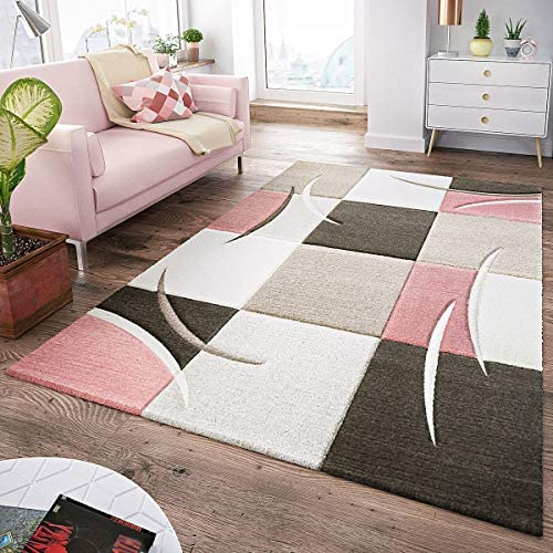 Area Rug Pastel Colours Checked in Pink Anthracite Gray White, Size 6 7 x 9 6