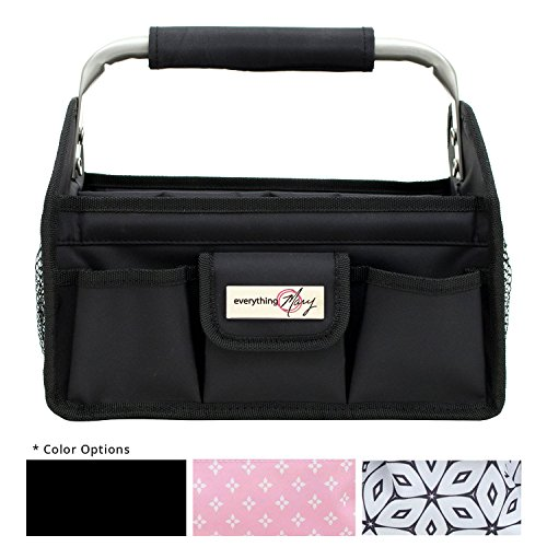 Everything Mary Black Deluxe Tag Along Storage Organizer Tote - Bin for Tools, Crafts, Home, Garage, Make-Up, Desk, Nursery, Supplies Storage Organizational Bin with Handles for
