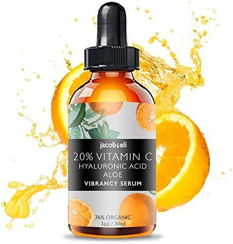 Vitamin C Serum - Top Influencer - Organic & Vegan - Packed With Hyaluronic Acid, Aloe, Jojoba Oil, Vitamin E & more - Good for Acne, Anti Wrinkle, Anti Aging, Fades Age Spots - Sun Damage
