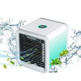 Arctic Air Personal Space Cooler,4 in 1 Mini USB Portable Air Conditioner|Humidifier|Purifier|7 Colors LED Lights Desktop Cooling Fan for Office Home Outdoor Travel