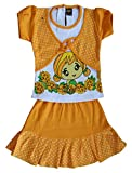 ELK Girls's Yellow Cotton Top and Frock Clothing Set