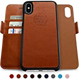 Dreem Fibonacci 2-in-1 Wallet-Case for iPhone X & Xs, Magnetic Detachable PC Slim-Case, Luxury Vegan Leather, RFID Protection, Smart 2-Way Stand, Gift-Box - Caramel
