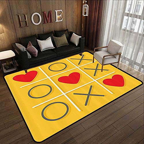 - Natural Fiber Area Rug,Love Decor,Tic Tac Toe Game with XOXO Design Let Me Kiss You Valentines Romantic Illustration,Yellow Red 47