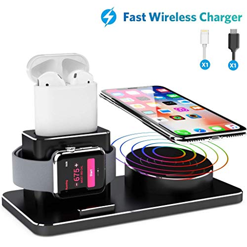 JOYEKY Charger Stand for iWatch Aluminum Alloy Charging Stand for Apple Watch 3 in 1 Fast Wireless Charging Pad Stand for iPhone Xs Max/Xs/XR/X/8/8 Plus APPL Watch Series 4/3/2/1/ AirPods