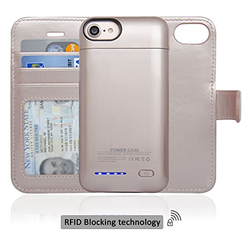 Navor RFID Folio Wallet Magnetic Detachable Power Battery Case 3000mAh for iPhone 7 / 6 / 8 [4.7 Inch] - Rose Gold