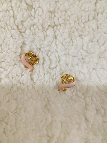 (Vintage 1996 Breast Cancer Awareness Flower Pink Ribbon Gold Tone Earrings Pierced)
