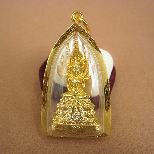 Phra Nak Prok 7 Naga Heads Thai Buddha Holy Amulet Pendant Gold Plating