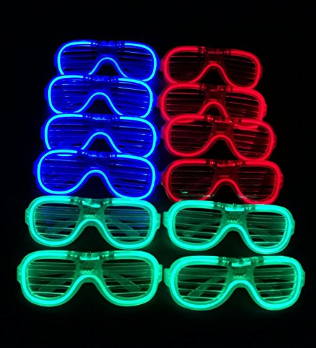 M.best Unisex Fashion Plastic Glow Light LED Light Up Shades Toy Glasses Party Favors Supplies Set of 12 (B - Best Glasses Deal