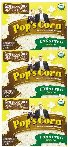 Newman's Own Organics Pop'S Corn, Organic Microwavepopcorn, Unsalted, 8.4 oz, 3 pk by Newman's Own