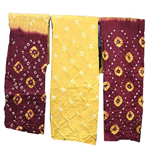 AZAD TRENDS Jaipuri Bandhni Tie & Die Cotton Unstitched Dress Material for Women