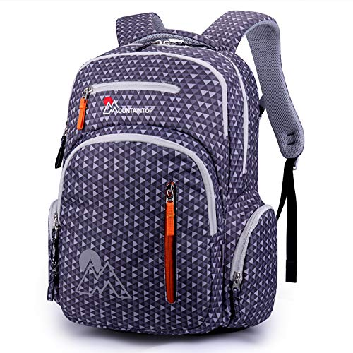 Price comparison product image Mountaintop Kids School Backpacks Elementary School Bags Bookbag for Boys Girls with Chest Strap (Gray)