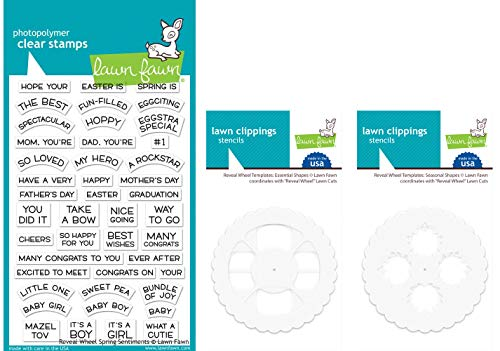 Lawn Fawn - Reveal Wheel Additions Spring 2019 - Spring Sentiments Stamps, Essential Templates and Seasonal Template Stencils - 3 Item Bundle