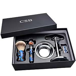CSB Luxury Shaving Gift Set,Silvertip Badger Hair Shaving Brush,ProGlide Fusion Razor & Blade,Chrome Stand & Bowl in Gift Box Set Color Blue Acrylic Handle