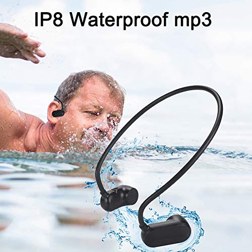 MIUSUK Waterproof Bone Conduction Headphone MP3 Swimming MP3 Player IPx8 Waterproof for Gym Swimming Outdoor Sport USB Lossless MP3 Players Music in The Pool(Black) (Mp3 Wav)