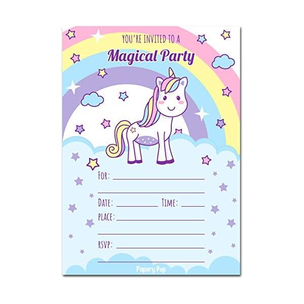 30Unicorn invitaciones con sobres–Mágico para niños fiesta de cumpleaños Invitaciones de cumpleaños para niñas