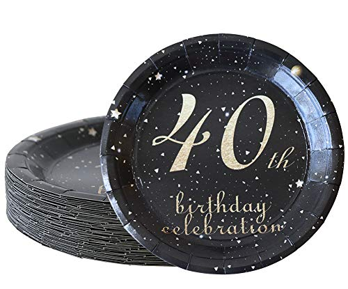 40th birthday decorations party supplies set,40th birthday gifts for women or men, 50 piece paper plates,9 x 9 Inches. (40) -