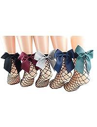 Ziye Shop 5 Pairs Cute Women's Black Mesh Short Ankle Socks Sexy Bow Fishnet Socks
