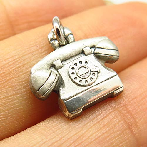 VTG Signed 925 Sterling Silver Rotary Dial Phone Design Charm Pendant Jewelry Making Supply by Wholesale Charms