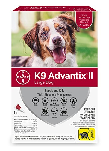 Bayer K9 Advantix II Flea, Tick and Mosquito Prevention for Large Dogs, 21 - 55 lb, 6 doses by Bayer Animal Health