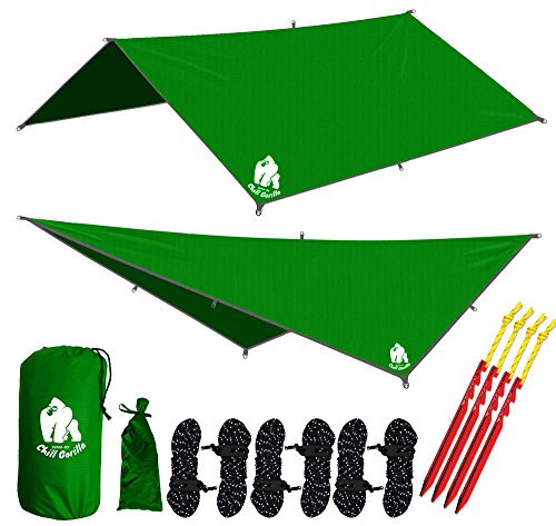 Chill Gorilla 10' hammock rain fly tent tarp waterproof camping shelter. Lightweight ripstop nylon & not cheap polyester. Stakes included. Survival gear. Backpacking camping ENO accessory. Green (Ripstop Nylon Material)