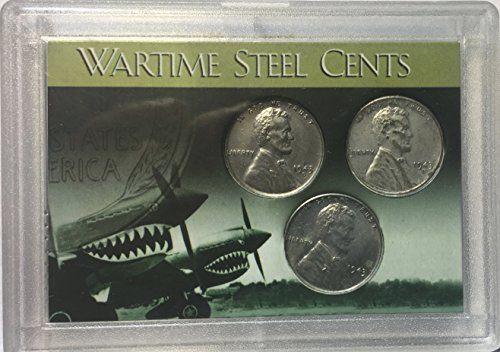 - 1943 P D S Steel Lincoln Wheat Pennies Cents WWII ERA Comes in hard plastic holder EF-AU
