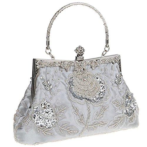 Sequin Vintage Belsen Handbags Women's Belsen Beaded Silver Women's Evening qZW1R