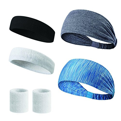 Sports Headbands -Sweatbands Moisture Wicking Athletic Wristbands Pack of 5 for Men and Women Running Yoga Crossfit Workout Wide Stretchy Headwear