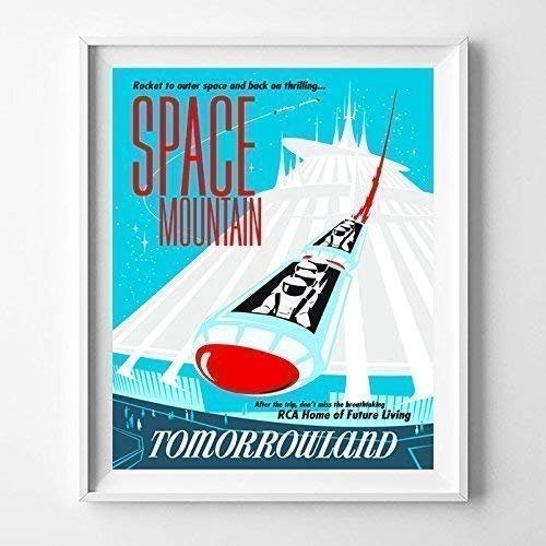 Art Giclee Matte (Disneyland Space Mountain Tomorrowland Home Decor Print Wall Art Poster Office Decoration Living Room Gift Idea Giclee Vintage Artwork Reproduction - Unframed)