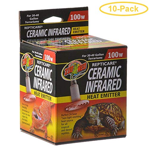 Zoo Med ReptiCare Ceramic Infrared Heat Emitter 100 Watts - Pack of 10 ()